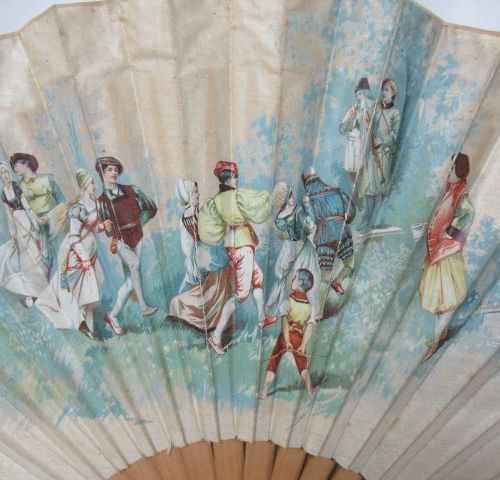 Set of two wooden fans, one covered with a lithographed cloth decorated with a g…