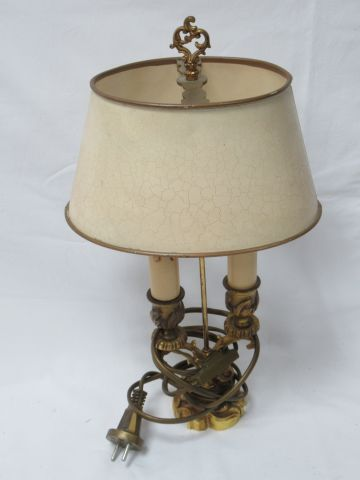 Hot water bottle lamp in bronze and beige lacquered sheet metal. Height: 34 cm