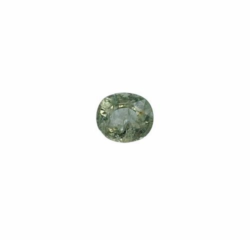 Sparkling yellow/pale green oval sapphire close cushion of about 1.34 carats.  P…