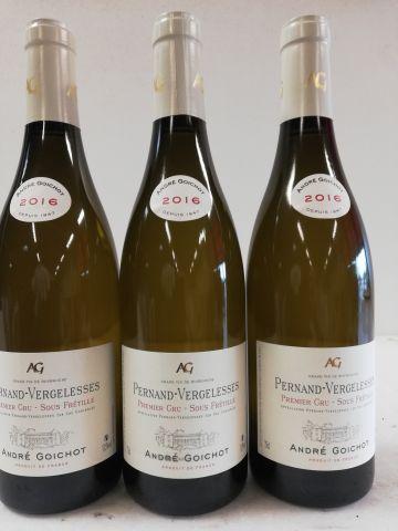 3 bottles Pernand Vergelesses. 1er Cru 2016. Under Frétille. André Goichot.