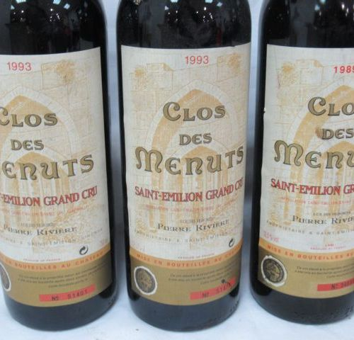 6 bottles of Saint Emilion Grand Cru, Clos des Menuts, 5 from 1993 and 1 from 19…