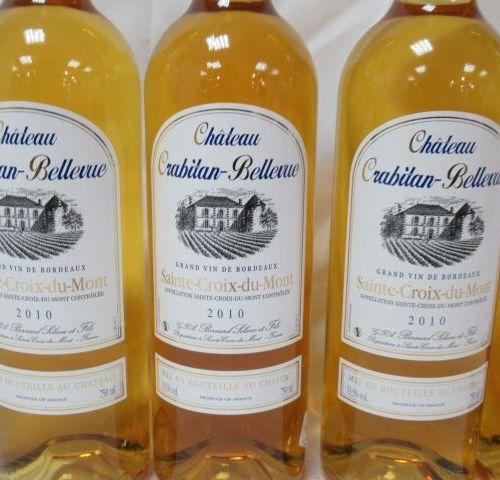 6 bottles of White Bordeaux, Château Crabitan Bellevue, 2010