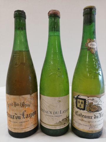 3 Old bottles Coteaux du Layon liquoreux (1 from 1984; 1 from 1969 handwritten l…