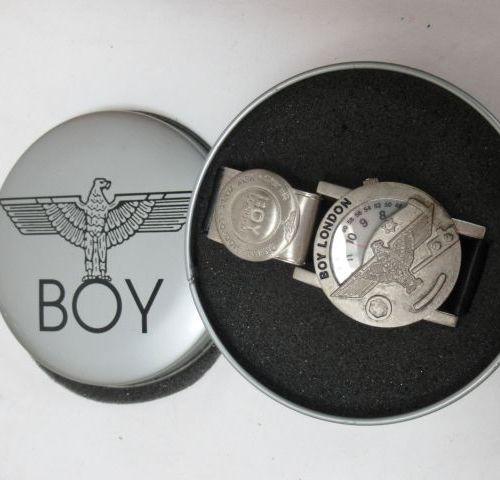 BOY Steel watch, leather strap (light wear). In its case.
