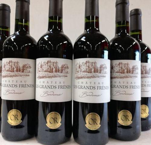 6 bottles of Château les Grands Frênes 2018 Gold Medal Winner Bordeaux