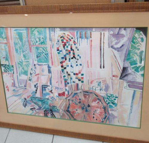 Large reproduction, showing a view of a village. Under glass. 77 x 104 cm