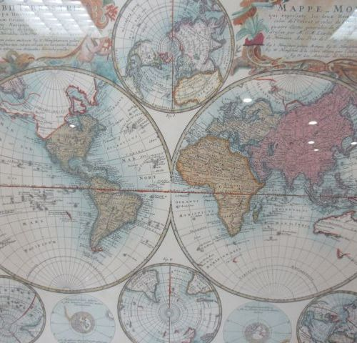 Reproduction of a world map in the taste of the 16th century in a beautiful carv…
