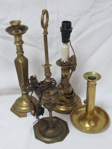 Bronze and brass set, including a push pull candleholder, two candleholders moun…