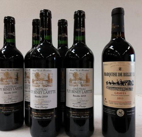 Batch of 6 bottles : 1 Graves 2013 Château de Bellevue La Marquise Grande réserv…