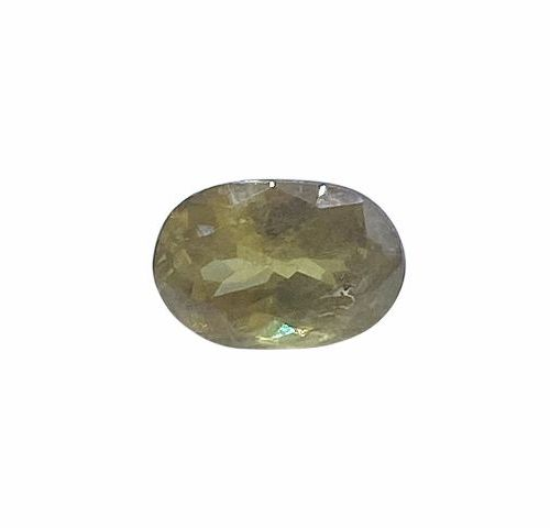 Yellow oval faceted sphene of about 2.03 carats.