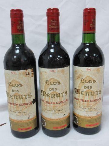 3 bottles of Saint Emilion Grand Cru, Clos des Menuts, 1993 (LB)