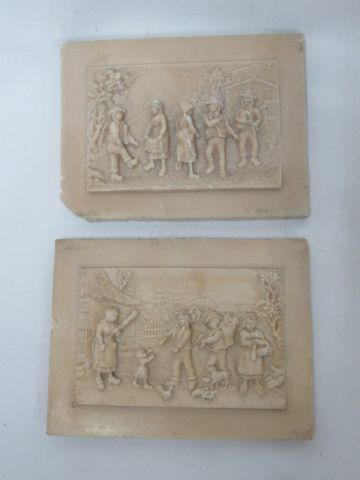Set of 2 bas reliefs in limestone compretion depicting village scenes, 9x12 cm, …