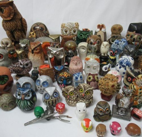 Set of owls and owls in bronze, wood, ceramic, resin, stone ... 3 14 cm