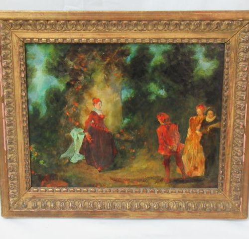 Reproduction on panel, showing a discussion in a garden. 25 x 19 cm Wooden frame…