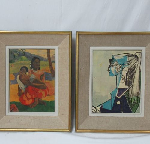 Set of two reproductions on canvas, after Gauguin and Picasso. Framed. 38 x 32 c…
