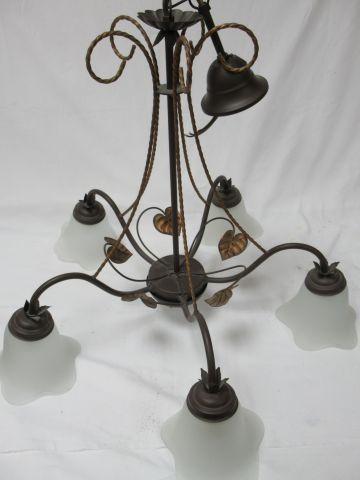 Lacquered metal hanging lamp. 5 lights. 54 cm