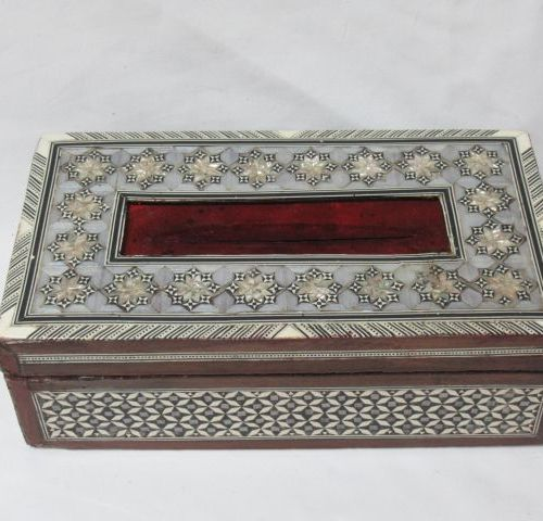 SYRIA Wooden box, decorated with mother of pearl and bone inlays. Transformed in…