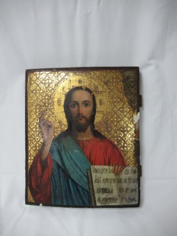 RUSSIA icon depicting Christ. 19th century. 31 x 26 cm (missing)