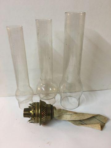 Three glasses for kerosene lamp ( 28 cm D 6 cm, H 26 cm D 5 cm, H 25 cm D 4.5 cm…