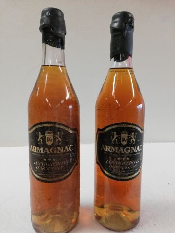 2 Old bottles of Armagnac. 70cl. The Winegrowers of Armagnac