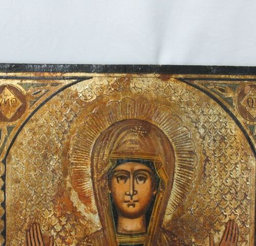 RUSSIA icon depicting a Virgin with child. Late 19th century. 26 x 22 cm