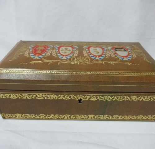 Boiled cardboard box, covered with leather like paper, decorated with coats of a…