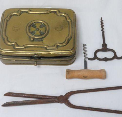 Set includes a brass heater, an antique curling iron, 2 corkscrews. 9 26 cm