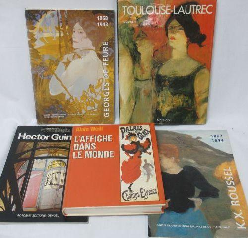 Lot de livres d'Art : Guimard, de Feure, Roussel, Toulouse Lautrec. On y joint u…