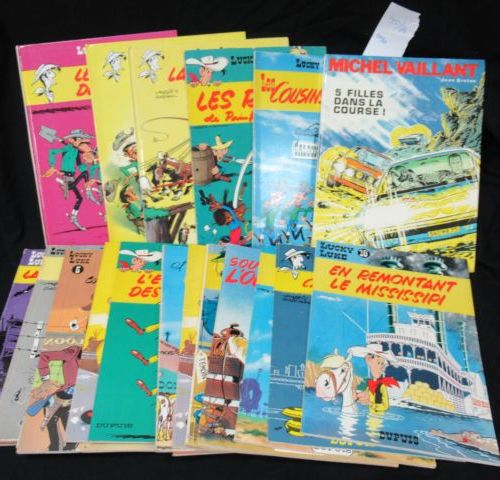 LUCKY LUKE Lot comprenant 3 albums rigides et 17 souples. Circa 1980. On y joint…