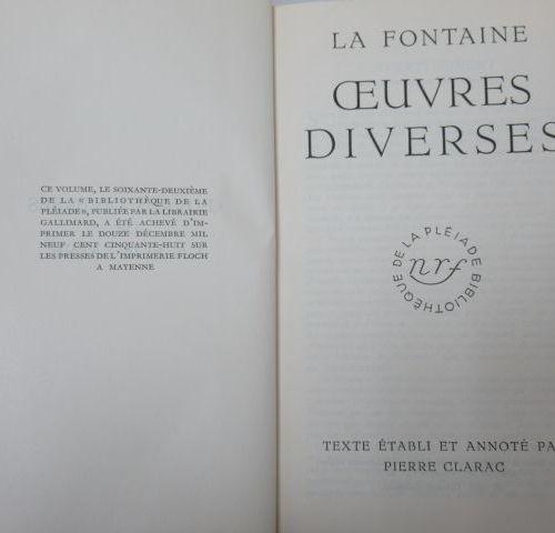 "LA PLEIADE, LA FONTAINE ""Miscellaneous works"", 1958"