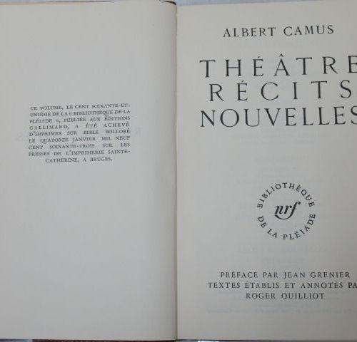 "LA PLEIADE, Camus, ""Theatre, stories and news"", 1963"