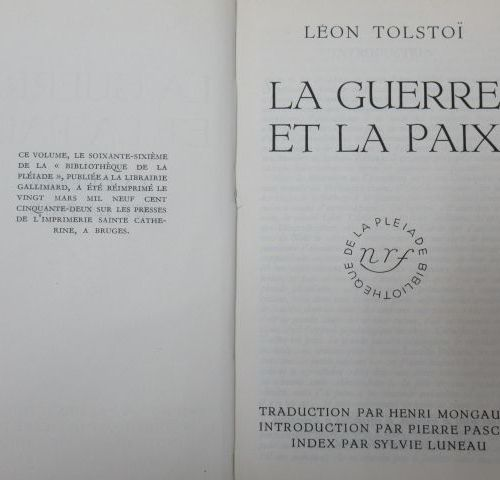 """THE PLEIADE, TOLSTOI """"War and Peace"""" 1952"""