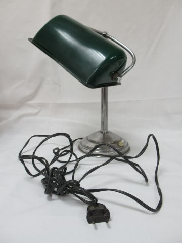 Desk lamp in metal, globe in green resin. Height: 40 cm