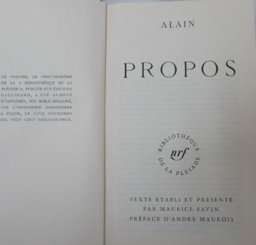 "LA PLEIADE, Alain, ""Propos"" 1962"