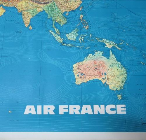 Set of 2 panispheres (one Air France) and a sky map. Length: 120 cm (approx.)