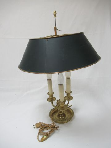 Lamp bouillotte in bronze, with its lampshade in lacquered sheet metal. Height: …