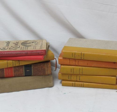 Lot of science books and old school books including a series of books by Arthur …
