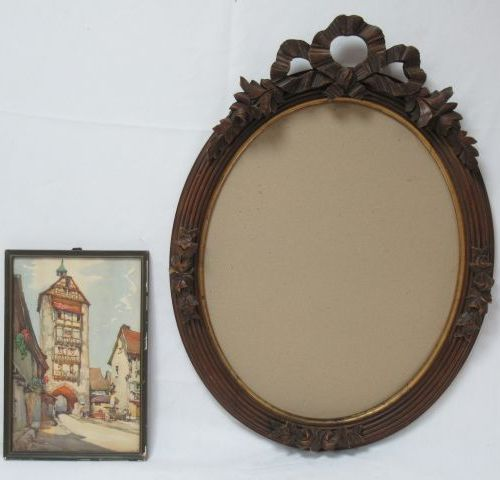 Beautiful carved natural wood frame, decorated with a ribbon knot. 64 x 45 cm (4…