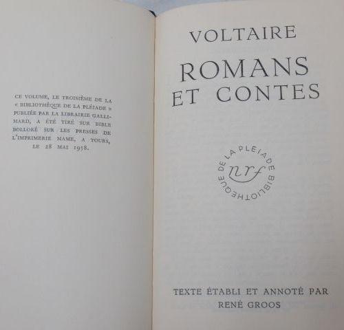 """LA PLEIADE, Voltaire, """"Romans et Contes"""", 1958"""