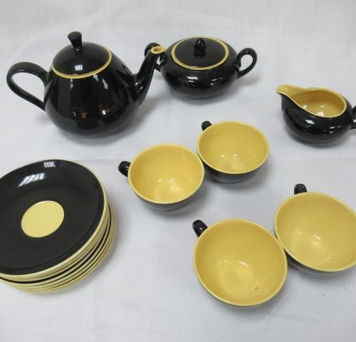 Black and yellow ceramic service set, including sugar bowl, milk jug, teapot, 4 …