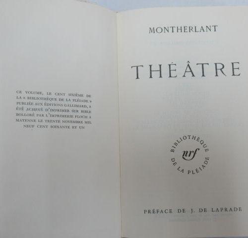 "LA PLEIADE, MONTHERLANT ""Theatre"" 1961"