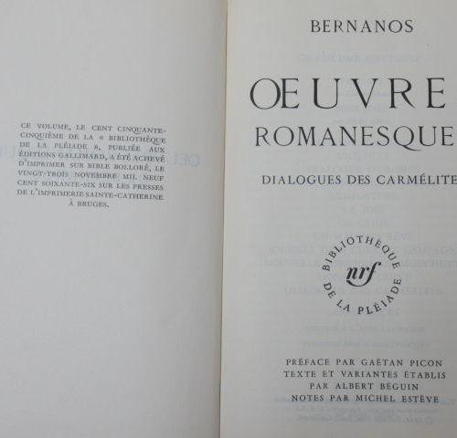 """LA PLEIADE, BERNANOS """"Novels: Dialogues des Carmélites"""" 1966 (inscribed)"""