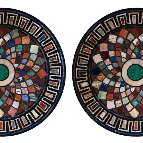 Pair of black marble trays, with geometrical decoration inlaid with coloured mar…