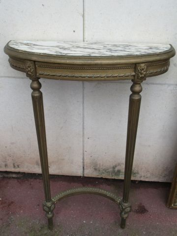 Gilded wood set, including a console (marble top (crack), 83x63x25 cm, missing) …