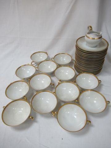 BAVARIA Suite of 13 double handled cups in white porcelain with gold highlights,…