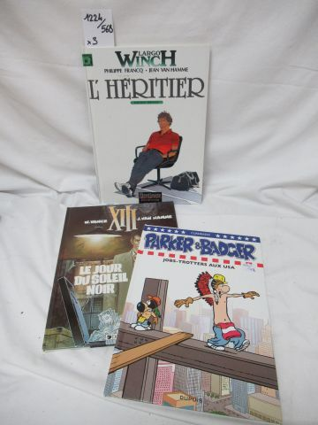 Set of 3 comics : XIII, Largo Winch, Parker and Badger.