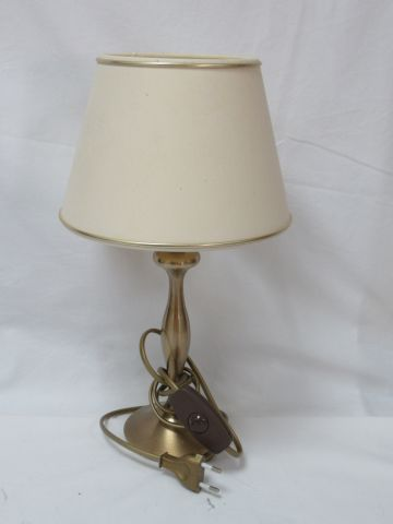 Brass lamp base with its shade. Height: 38 cm