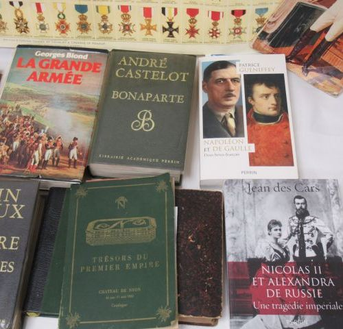 Lot of books on Napoleon. A small poster with military insignia is attached.