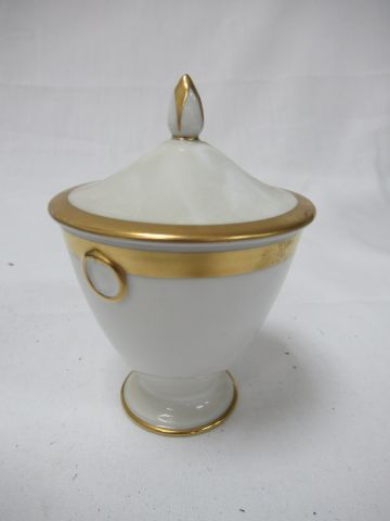 White porcelain covered pot with gold highlights. Restoration period. Bears a ma…