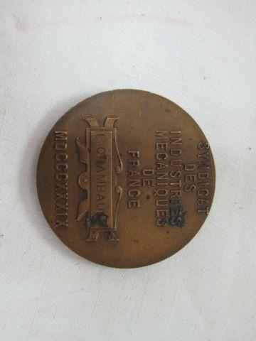 Lot de 3 médailles en bronze, Industrie mécanique de France, Institut géographiq…